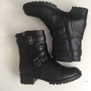 Aldo Leather Fur Lined Moto Boots 9